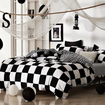 Classical black and white cotton Bedding set home textile bed linen Duvet cover Bedclothes Queen Size 3pcs