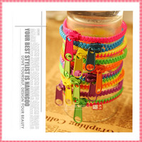 (#BR006) New Arrive Fashion Zipper design Bracelets for women men Neon Color Patchwork Bracelet Steampunk style jewerly Green