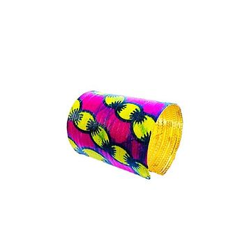 African Print  Pink Cuff Bangles