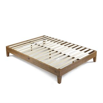 King size Modern Platform Bed Frame in Rustic Pine Finish