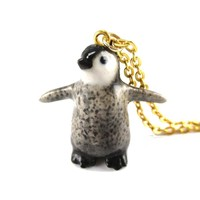 Porcelain Baby Penguin Bird Shaped Hand Painted Ceramic Animal Pendant Necklace | Handmade
