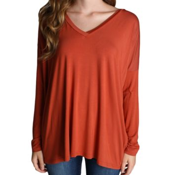 Rust Brown Piko V-Neck Long Sleeve Top