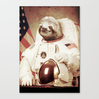 Sloth Astronaut Stretched Canvas by Bakus