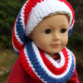 red, white and blue stripe crochet slouch hat with infinity scarf, 18 inch doll clothes, American girl Maplelea
