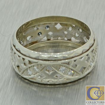 1930s Antique Art Deco 14k White Gold .20ctw Diamond 8mm Wide Band Ring J8