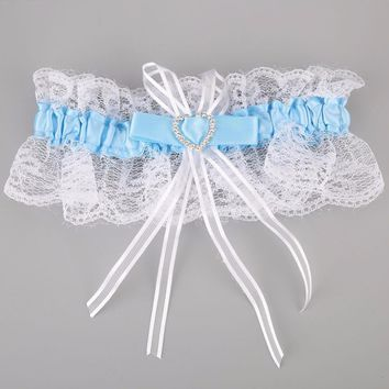 Vessos 2017 Wedding Garter With Lucky Sixpence and Something Blue Poem