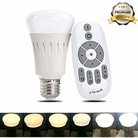 iThird Remote Control LED Light Bulbs Dimmable Color Temperature Adjustable 60 Watt Equivalent Lighting Bulb for Desk Lamp Table Lamp Beside Lamp Ceiling Pendant Lamp 8W E26