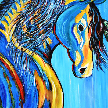 """ART Indian Blue Horse Abstract Painting 30""""x40"""" Acrylic on Canvas Palette Knife Modern Animal Ready to Hang Wired By Kathleen Artist Pro"""