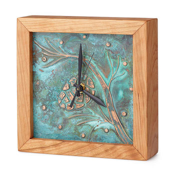 Patina Pinecone Box Clock | copper clock