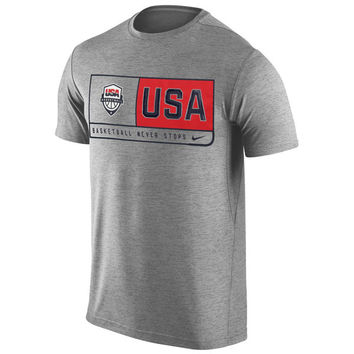 Men's Nike Gray USA Basketball Team Dri-FIT T-Shirt