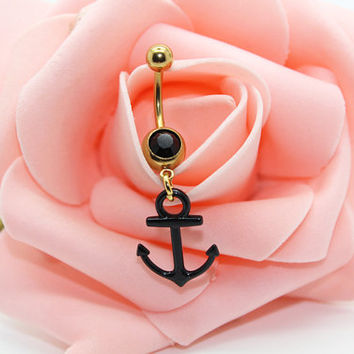 Belly button ring,Anchor belly ring ,Anchor belly button jewelry,Belly button jewelry,Body piercing,Friendship belly ring