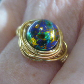 Wire Wrapped Ring with Glass Bead All that by mysassyglass