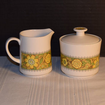 Noritake Progression Festival Cream & Sugar Vintage Creamer Sugar Set Hard to Find 1970s Noritake Replacement Discontinued China