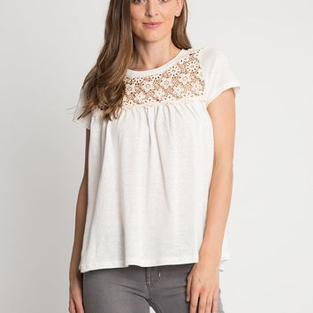 Cameron Crochet Yoke Detail Top | Ruche