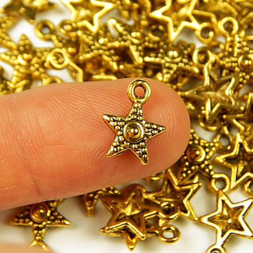 10 Pcs - 12x10mm Tiny Gold Tone Studded Star Charms - Tiny Charms - Jewelry Supplies