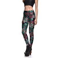New Fashion Slim Sexy Legging Skull Printed Women Plus Size Leggings Breathable Female Fitness Push Up Legging