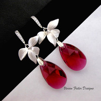 Red Earrings Orchid CZ Ruby Red Wedding Jewelry Short Bridal Bri - Vivian Feiler Designs | Wedding
