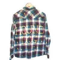 "Elvis Presley Shirt in Blue Plaid Flannel, ""Hound Dog"""