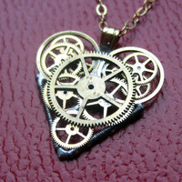 "Watch Parts Heart Necklace ""Gale"" Clockwork Steampunk Industrial Heart Pendant Sculpture Gershenson-Gates Mechanical Mind Gift Idea"