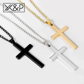 X&P Crystal Cross Long Gold Chains Necklaces for Women Men 2019 Fashion Christian Stainless Steel Link Chain Necklace Jewelry