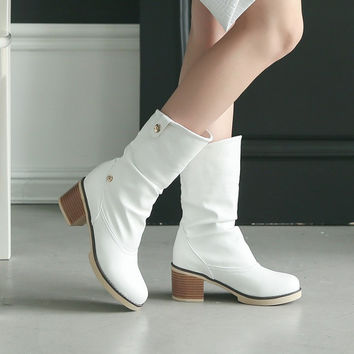 Lapel Ankle Boots Low Chunky Heels Women Shoes 6148