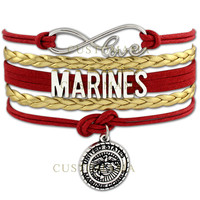 Customama Infinity Love United States Marine Corps Wrap Bracelet Marines Bracelet Red Blue White Marine Sister Marine Mom