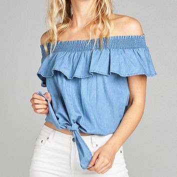 Ladies fashion off the shoulder w/smocked ruffle front self tie chambray top
