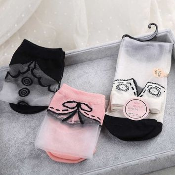 Hot Sale Japanese Women Transparent Socks Harajuku Collar Pattern Crystal Korean Glass Silk sox Art Socks kawaii funny novelty