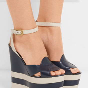 Gucci - Two-tone leather wedge sandals