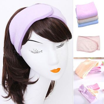 2017 New Pink Spa Bath Shower Make Up Wash Face Cosmetic Headband Hair Band Accessories Sale