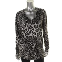 MICHAEL Michael Kors Womens Knit Animal Print Pullover Sweater