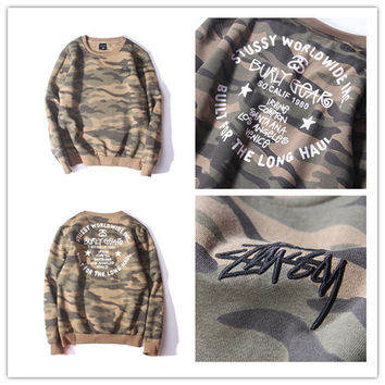 """Stussy"" Fashion Casual Male Female Camouflage Print Embroidery Letter Round Neck Long Sleeve Student Couple Cotton Sweater"