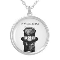 Mad Hatter Black cat Original Fairytale Art Silver Plated Necklace