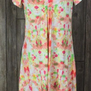 Cute Fresh Produce Multi Color Aline Dress M size Pink Green Stretch Casual Vacation