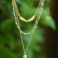 Feather and Bar Double Layer Necklace - New Arrivals