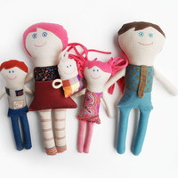 Family Dolls, Stuffed Rag Dolls, Gift for Daughter, Designer Toys, Textile Cloth Dolls, Handmade Dolls, Gift for Girl, Retro Cute Soft Dolls