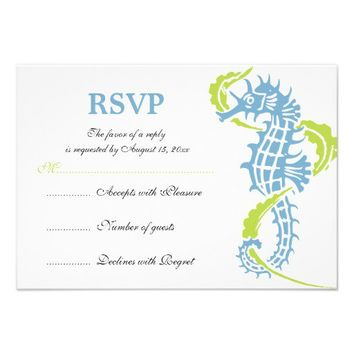 Seahorse and seaweed blue, green wedding RSVP card