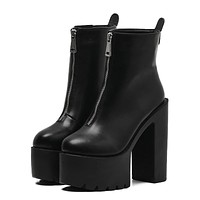 Fashion Ultra High Platform Heels Round Toe Leather Ankle Boots
