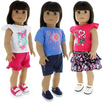Doll Clothes Fits American Girl & Other 18 Inch Dolls 6 Piece Mix & Match Outfits