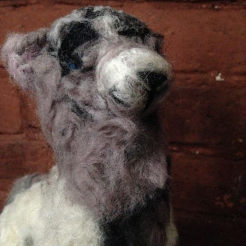 Needle Felted Wolf, Black, Grey and White
