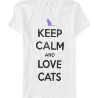 Keep Calm And Love Cats Graphic T - Aeropostale