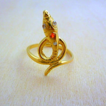 Gold Filled Dragon Snake Gold 14K designer gemstone Ring hand made with swarovski crystals,stackable ring,stacking ring,dainty ring