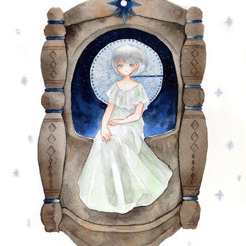 "Original Watercolor Painting   ""星の音まわるまわる "" music of star is played  B5 size - fantasy illustration,star,music box"