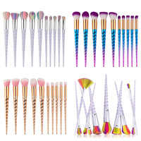 New Unicorn 10Pcs Pro Makeup Brushes Set Contour Powder Eyeshadow Lip Blush Foundation Powder Kabuki Brush Cosmetics Tools Set