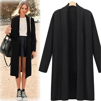 Womens Open Front Trench Coat Long Cloak Overcoat Waterfall Cardigan