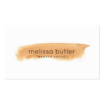 Beige Watercolor Makeup Artist Appointment Business Card