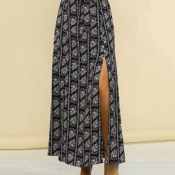 Flower print maxi skirt with two front slits