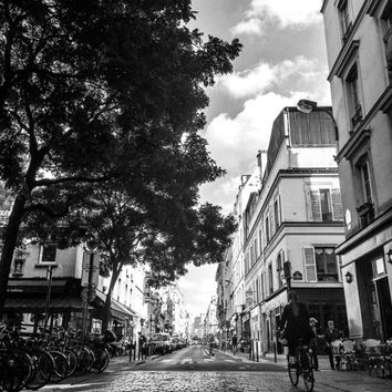 Instant Download Paris Street Scene Cobblestones Black and White France