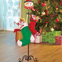 Snowman Standing Holiday Stocking Holder Hanger Scrolled Metal Christmas Decor