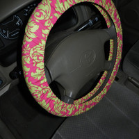 Watermelon and Hot Pink Damask Steering Wheel Cover